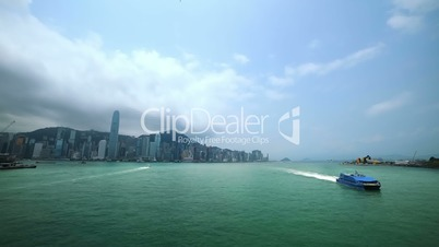 Boats in the Harbor of Hong Kong. Fast Motion