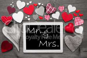 Chalkbord With Many Red Hearts, Mr And Mrs
