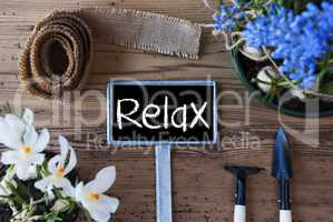 Spring Flowers, Sign, Text Relax