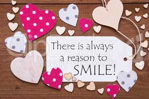 Label, Pink Hearts, Quote Always Reason To Smile