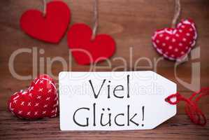 Read Hearts, Label, Viel Glueck Means Good Luck