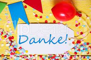 Party Label, Red Balloon, Danke Means Thank You