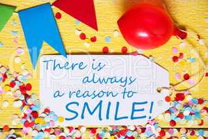 Party Label, Red Balloon, Quote Always Reason To Smile