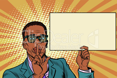 African businessman asking for silence, Billboard poster