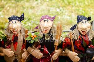 Needlework, original toys in the form of amusing dolls
