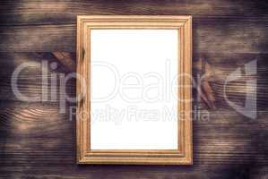 Empty wooden frame on a wood textured surface