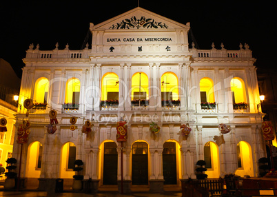 "The ""santa casa de misericordia"" in the senado square in Macau."