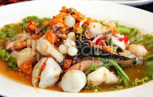 Thai seafood salad in thai restaurant.