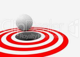 Golf ball and hole