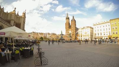 Market Square of Krakow. Time Lapse. Editorial Use Only