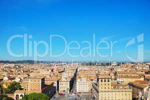 Rome aerial view with piazza Venezia