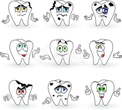 Set of nine amusing cartoon teeth