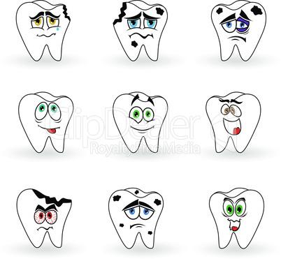 Set of nine funny cartoon teeth
