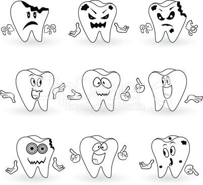 Set of nine characters of funny cartoon teeth
