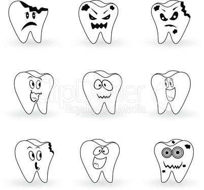 Set of nine characters of cartoon teeth