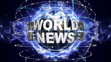 WORLD NEWS Text Animation and Earth, Rendering, Background