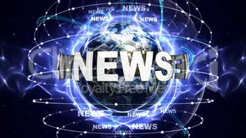 NEWS Text Animation and Earth, Rendering, Background