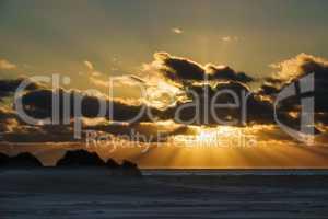 Sonnenuntergang mit Dünen auf der Insel Amrum