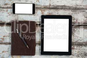 Digital tablet, smartphone and diary with pen