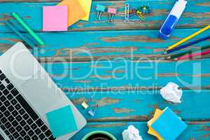 Laptop with stationery