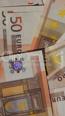 Fifty Euro notes - vertical