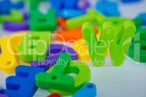 W alphabet standing between toy alphabet