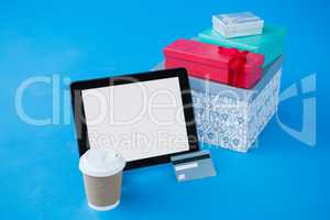 Gift boxes and credit card with digital tablet