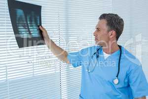 Surgeon analyzing x-ray report