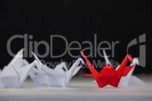 Paper cranes arranged together