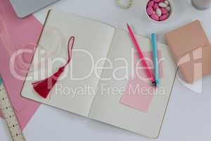 Diary, bookmark, ruler, ribbon, pencil and sticky notes