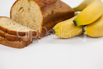 Sliced bread loaf with bananas