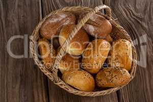 Various bread loaves in basket
