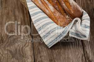 Baguettes in wicker basket