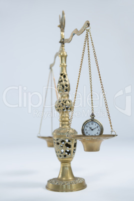 Pocket watch on weight scale