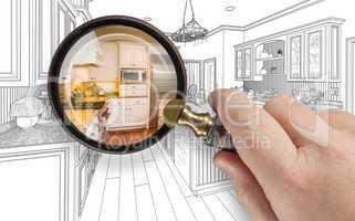 Hand Holding Magnifying Glass Revealing Custom Kitchen Design Dr