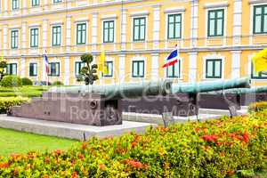 Ancient biggest cannon and Lion statue from Thai government muse