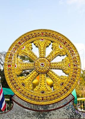 Wheel of dhamma of buddhism.