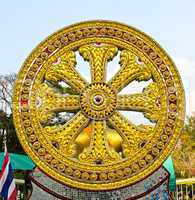 Wheel of dhamma of buddhism.