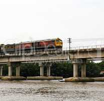 Train ran on bridge over the river