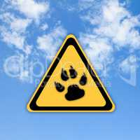 Animal footprint road sign on beautiful sky background.