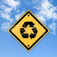 Recycle symbol sign on beautiful sky background.