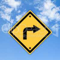 Turn right traffic sign on beautiful sky background.