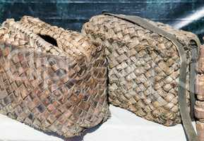 Vintage bag of the peasant, woven from bast.