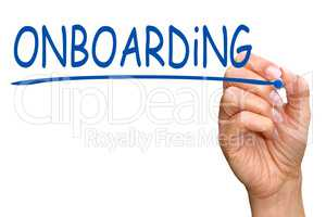Onboarding - female hand with pen writing text