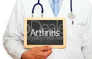 Arthritis - Doctor with chalkboard on white background