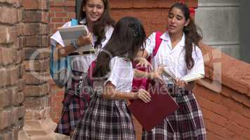 Female Students Rushing And Hurrying