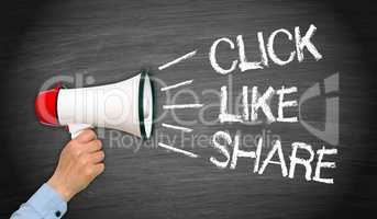 Click Like Share Megaphone with Hand