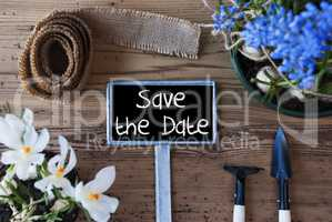 Spring Flowers, Sign, Text Save The Date