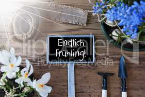Sunny Flowers, Sign, Endlich Fruehling Means Hello Spring