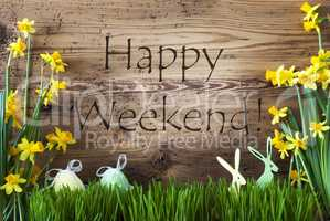 Easter Decoration, Gras, Text Happy Weekend